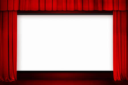 red stage curtain: cinema screen with open red curtain