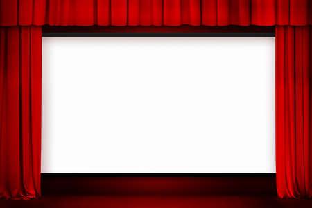cortinas rojas: pantalla de cine con la cortina roja abierta
