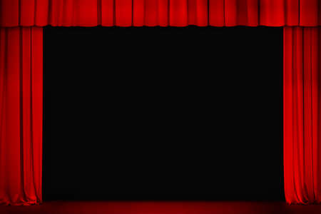 awards ceremony: red curtain on theater or cinema stage wide open