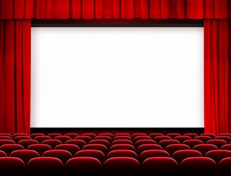bioscoopscherm met rode gordijnen en zetels Stockfoto
