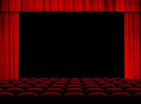 ステージ、カーテン、座席と赤い劇場講堂