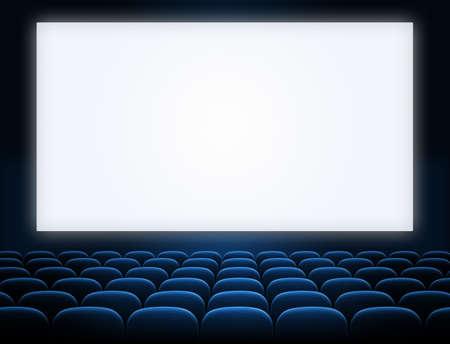 bioscoopscherm met open blauwe zetels