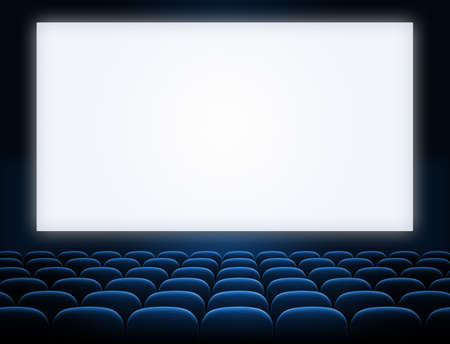 funny movies: cinema screen with open blue seats Stock Photo