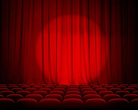 closed theater red curtains with spotlight and seats Imagens