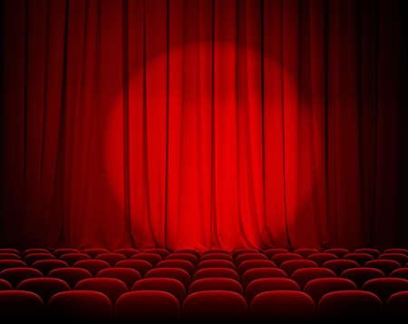 sipario chiuso: teatro tende rosse chiuse con riflettori e posti a sedere