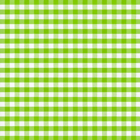 Real green checkered fabric tablecloth. High resolution.
