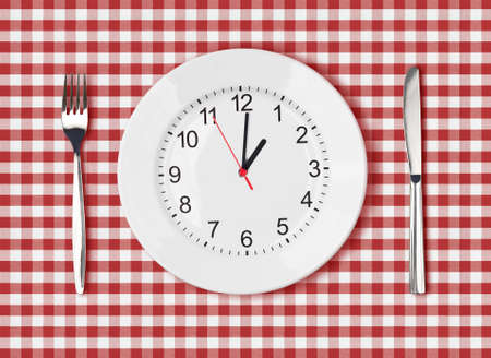 checker plate: Knife, white plate with clock face and fork on red picnic table cloth