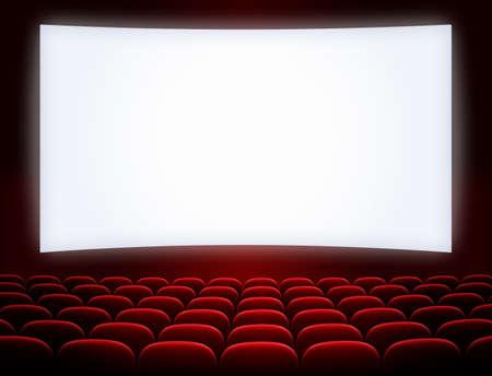 bioscoopscherm met open rode zetels