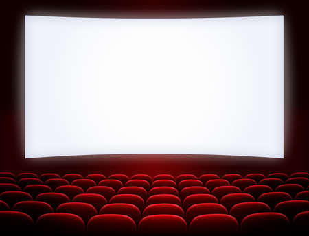 Films: cinema screen with open red seats Stock Photo