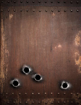 old metal background with bullet holes photo