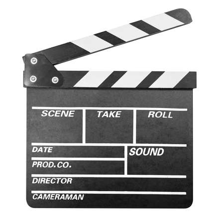 Clapper board isolated on white with clipping path photo