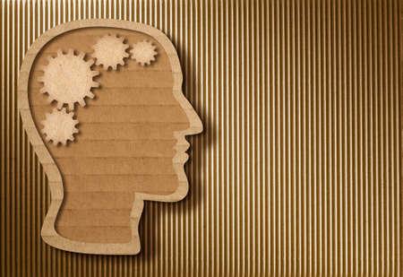 Human head model made from cardboard Stock Photo - 22861158