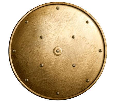 bronze: round bronze shield isolated Stock Photo