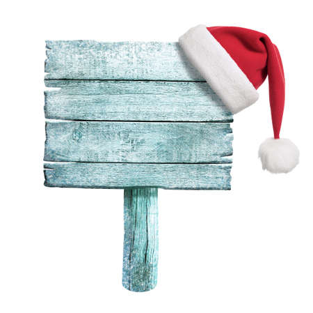 frozen wooden sign with red Santa photo