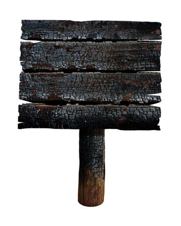 Charred wooden signboard  Old sign isolated on white  photo