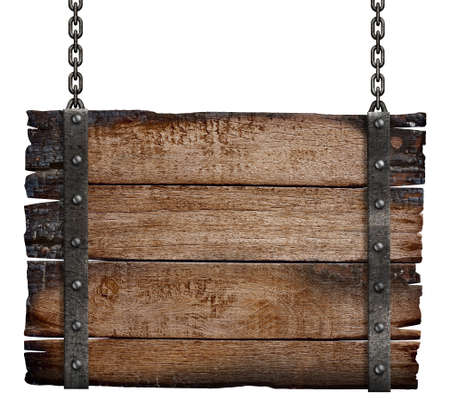 wood plaque: old burnt wood sign board on chain