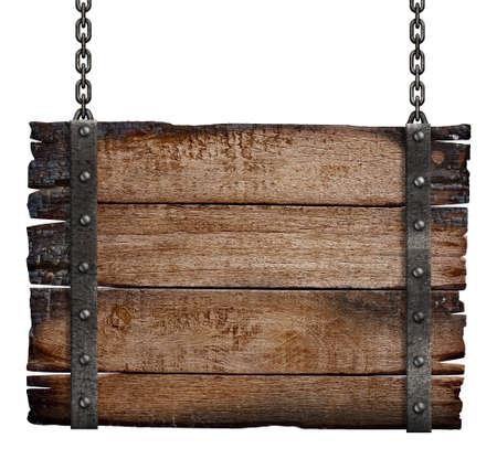 viejo quemado letrero de madera en cadena photo