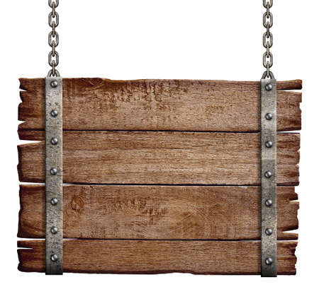 old wood signboard hanging on chain Stock Photo - 22861169