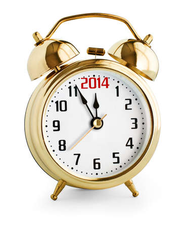Alarm clock showing 2014 new year photo
