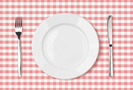 checker plate: empty dinner plate top view on pink picnic table cloth