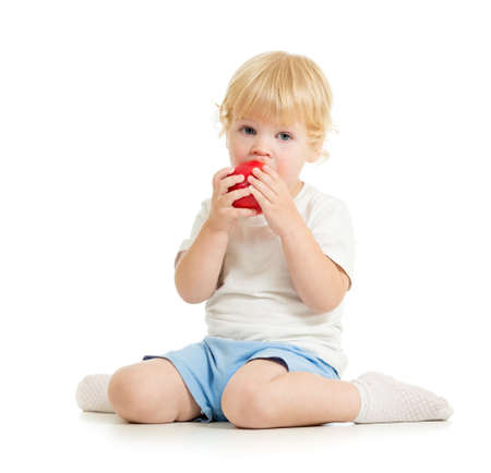 kid eating healthy food isolated photo