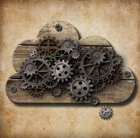 cloud storage: wooden cloud with rusty gears attached to grunge background