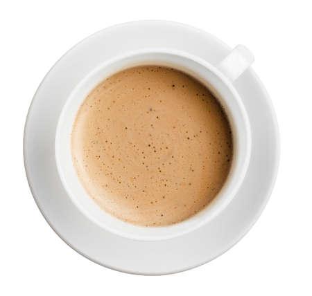 capuchino: taza de caf� con espuma aislado en blanco, todo en foco, vista superior Foto de archivo