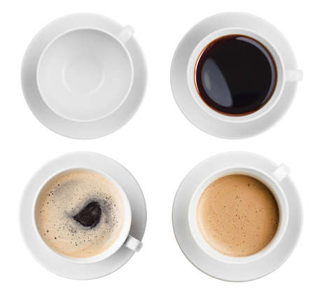 view from the above: coffee cup assortment top view collection isolated