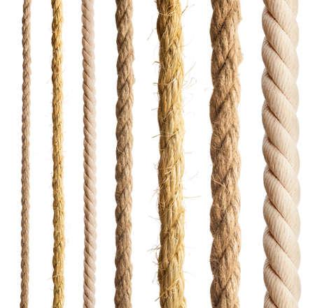 흰색 배경에 다른 로프의 로프 격리 컬렉션 스톡 콘텐츠