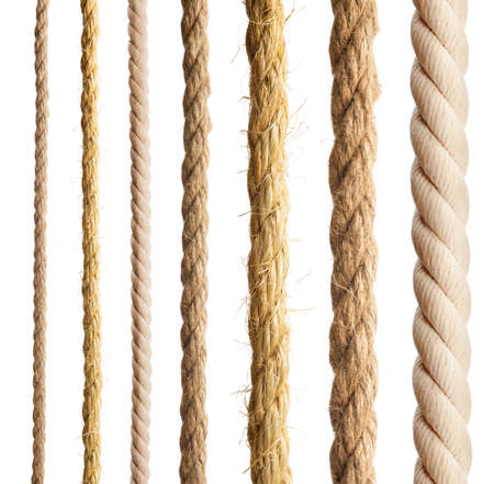 twine: Rope isolated  Collection of different ropes on white background