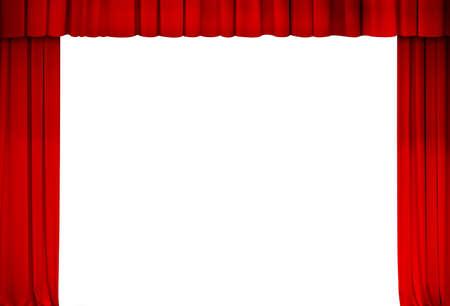 Theater rood gordijn kader isolaat Stockfoto
