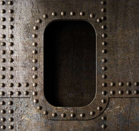 armour plating: old metal porthole background