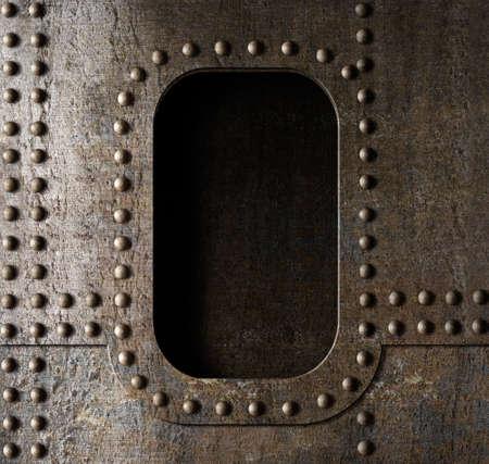 plating: old metal porthole background