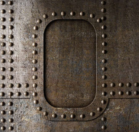 armour plating: Metal background with rivets  Steam punk style  Stock Photo