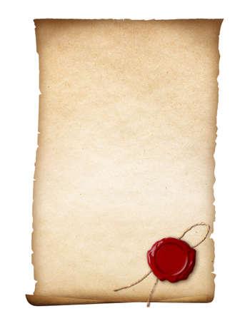 羊皮紙またはワックスのシールの分離と古紙