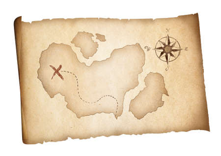 Old treasure pirates map isolated  Adventure concept  photo