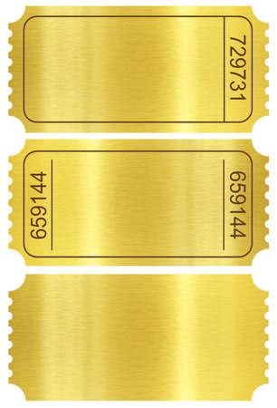 dorato: Set di biglietto. Stub Golden Ticket impostare isolato su bianco con il percorso di clipping incluso. Archivio Fotografico