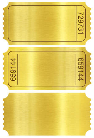 Ticket set. Golden ticket stubs set isolated on white with clipping path included. photo