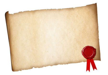 threadbare: Old paper diploma or certificate parchment with wax seal isolated Stock Photo