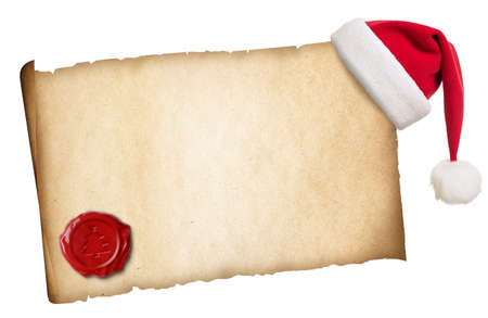Old parchment with Santas hat and wax seal isolated photo