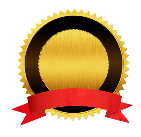 certificate bow: gold seal medal with red ribbon isolated