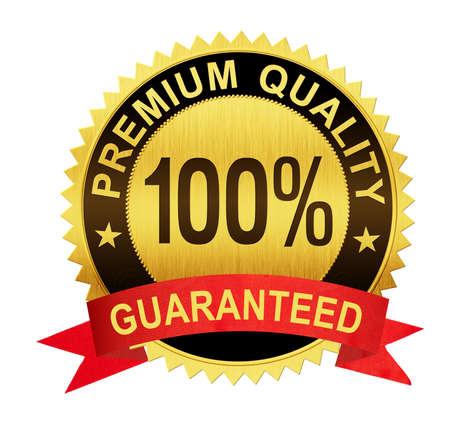 premium kwaliteit gegarandeerd gouden zegel medaille met rood lint geïsoleerd