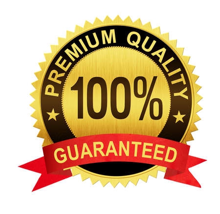 guarantee: premium quality guaranteed gold seal medal with red ribbon isolated