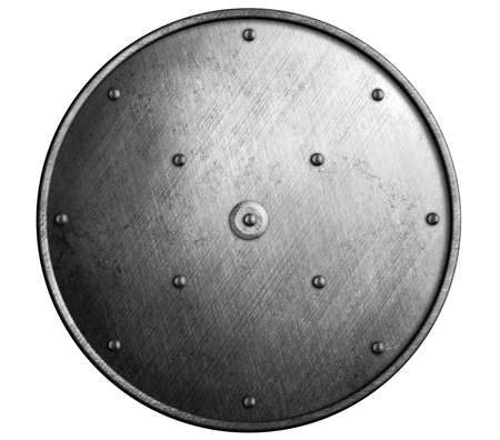 round metal shield isolated photo