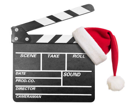 hollywood christmas: Clapper board with Santas hat isolate