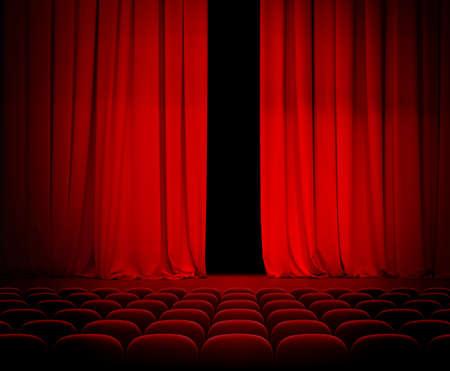 telon de teatro: teatro cortina roja ligeramente abierta con asientos