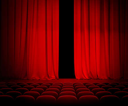 comedy show: theatre red curtain slightly open with seats