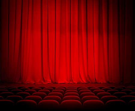 sipario chiuso: tende e posti di teatro rosso Archivio Fotografico