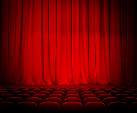 broadway stage: theater red curtains and seats