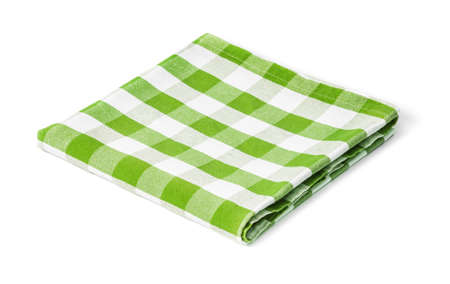 green picnic tablecloth isolated Stok Fotoğraf - 23703079